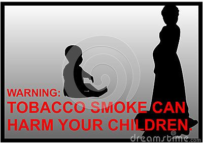 Vector anti-smoking warnings of a pregnant women and a baby silhouette.