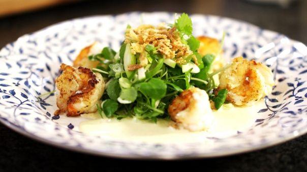 Salade met scampi, appel en curry - Één - Dagelijkse kost