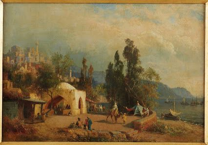 A Passage through Aegean Coastal: A 19th cent oil-on-board painting with an orientalist scene (42 x 61 cm). Despite unsigned painting work, from the colour composition and the choice of the landscape, the painting is attributable to Fabius Germain Brest, a Marseilles-born artist, who was intensively travelling across Ottoman province in 19th cent with his great interest on the daily life of Ottoman culture.