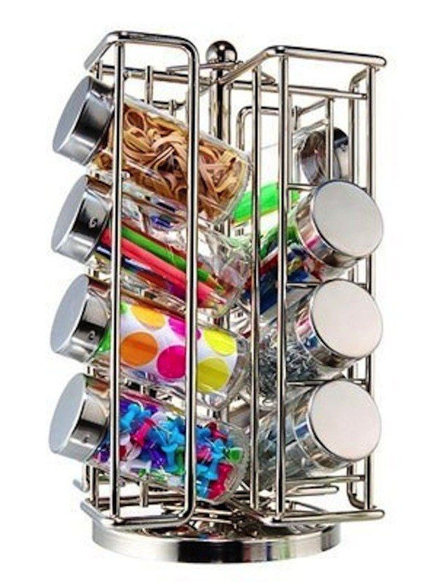 Store little things in spice containers organized on a spinning rack. | 45 Organization Hacks To Transform Your Craft Room