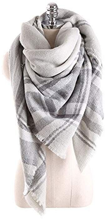 f419b373fe Women Tartan Scarf Stole Plaid Blanket Checked Scarves Wraps Shawl(Plaids  Grey Grey) at Amazon Women s Clothing store
