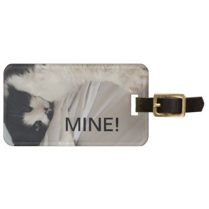 Cat With an Attitude Luggage Tag - Black - accessories accessory gift idea stylish unique custom