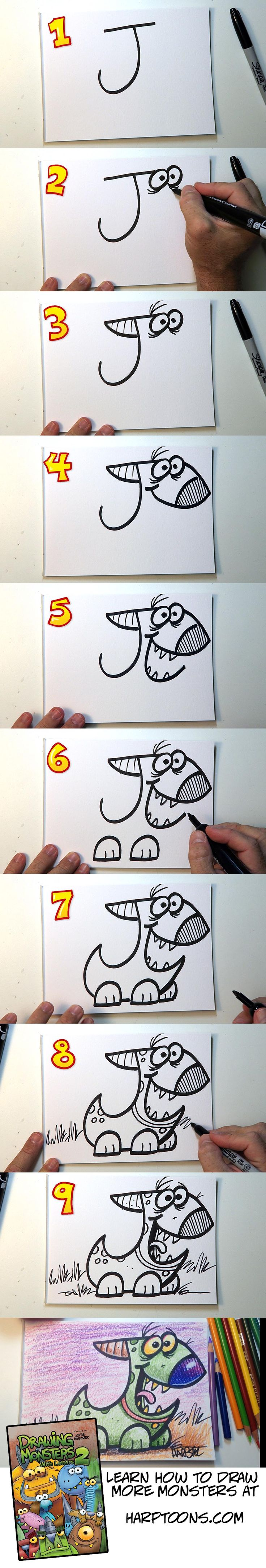 Want to learn how to draw more fun monsters starting with a letter? Just go to…