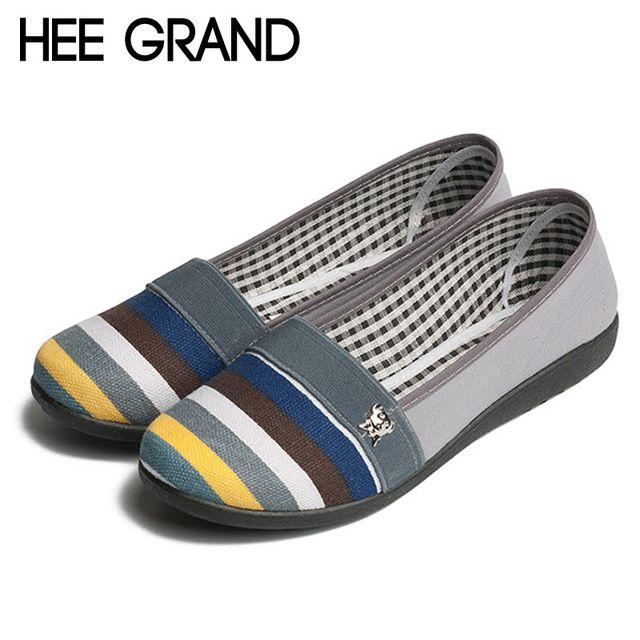 2016 streep loafers lente zomer flats slip canvas schoenen vrouw leisure ademende moeder vrouwen platte schoenen 3 kleuren XWD2947