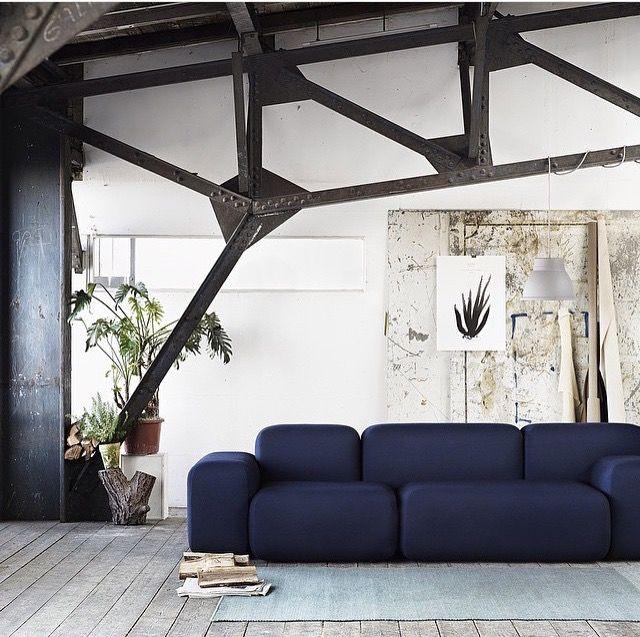 Textile Dotty Midnight On Soft Blocks sofa by Peter Skogstad for Muuto