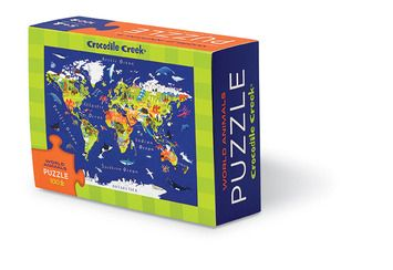 100-piece puzzle. Learn about our world! Delightful, beautifully-illustrated, challenging little puzzles in a reusable matchbox storage container. For ages 5+ Puzzle is 8W x 12L. Box is 5W X 3.5h X 1.5D #puzzle #animals #world #map #crocodilecreek