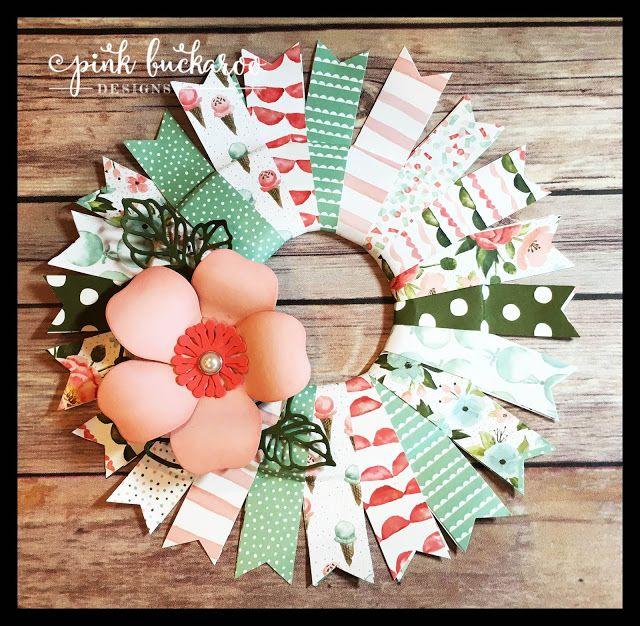 Birthday Bouquet DSP, Rose Garden Thinlit and Bouquet Bigz Die by Stampin' Up Wreath @Pink Buckaroo Designs
