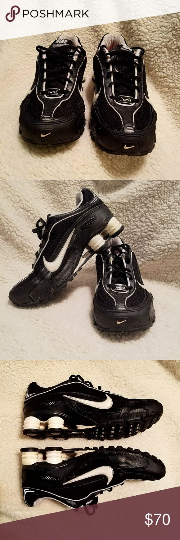 EUC Nike Shox Women's Sz 8 Pre-owned NIKE SHOX black and white in women's size 8. They are in excellent pre-owned condition with some very light signs of wear on the treads -  see photos. These shoes are super comfy and have a lot life left in them. Don't miss out on these! Nike Shoes Athletic Shoes