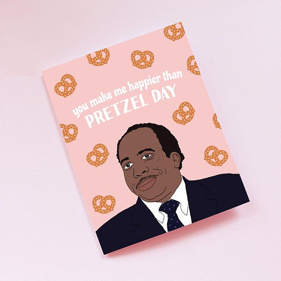 the office stanley pretzel day card