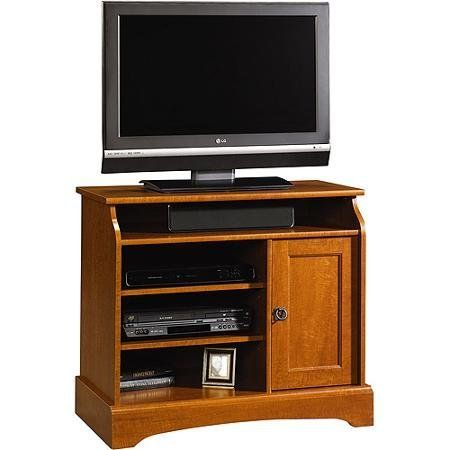 """Sauder Graham Hill Tall TV Stand, for TVs up to 35"""". Stylish yet efficient, the Sauder Graham Hill TV Stand allows optimum viewing in a bedroom setting. It is especially designed with attention to functionality to hold modern equipment like flat panel televisions. The 35"""" tall TV stand can hold televisions up to 37 inches and 135 pounds. The Sauder Graham Hill TV Stand with storage comes with a top shelf and has two adjustable shelves for storing other TV components and accessories…"""