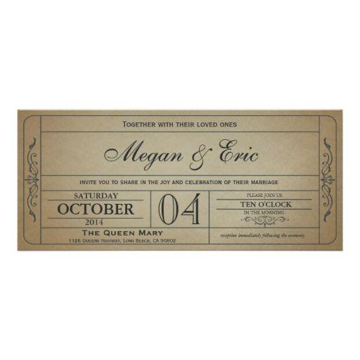 Vintage Wedding Ticket  Invitation - I like the vintage ticket look for any party invitation