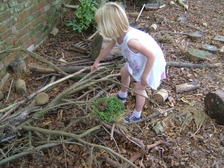 Finding sticks to build her nest with on the Adventure Xperience! #nature #sports #physicalactivity #children