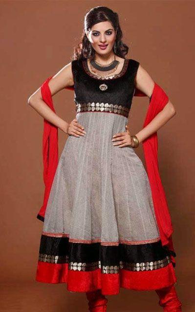 USD 102.58 Black and Grey Cotton Long Anarkali Suit   35010