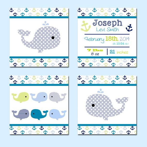 Set of 4, Nautical, M2M Target Whales n' Waves Nursery Bedding Set, by KookyburraBoutique
