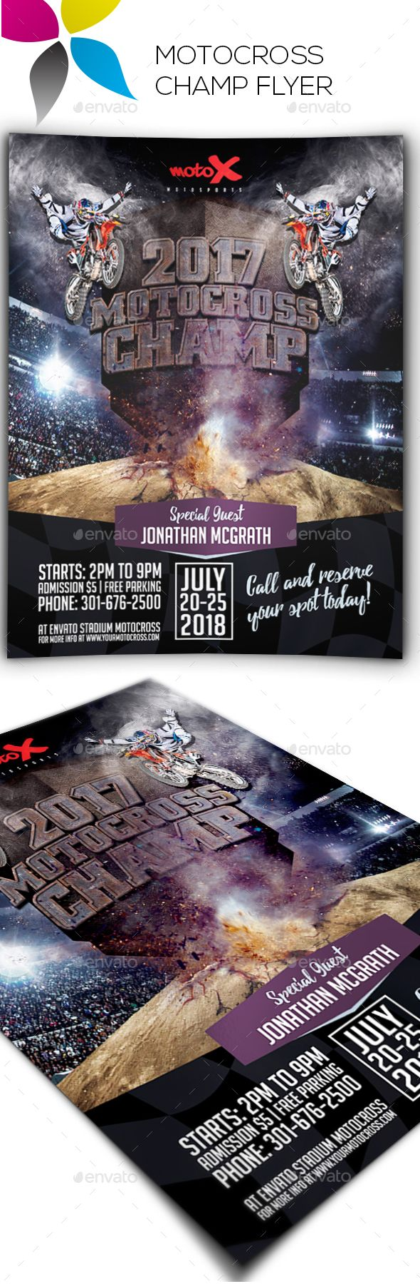 Motocross Champ Flyer — Photoshop PSD #motocross championship flyers #raceway • Available here → https://graphicriver.net/item/motocross-champ-flyer/17782109?ref=pxcr