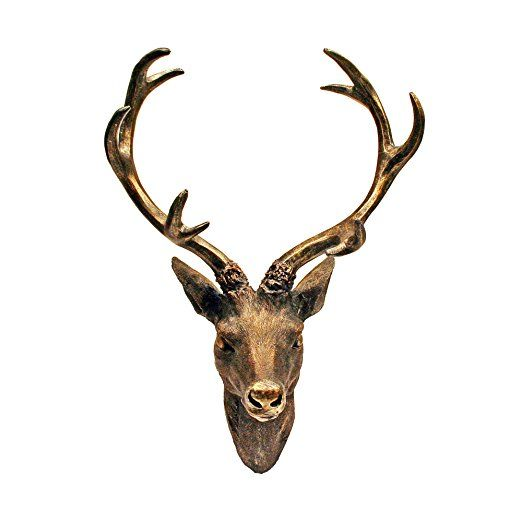 Testa di cervo con corna 10-Ender, effetto bronzo, 51 x 60 cm
