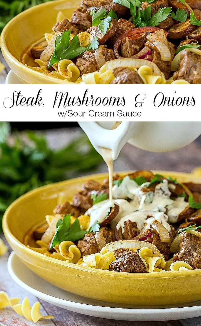 This Steak Mushrooms & Onions with Sour Cream Sauce recipe is a fresher, lighter version of the popular beef stroganoff.