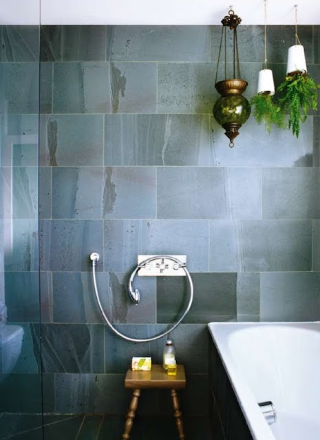 Inspiration from Bathrooms.com: Use large scale tiles, even within a small room to stretch space visually. We love the varied colours within these rustic slate tiles. #bathroom #tiles #wetrooms #designideas