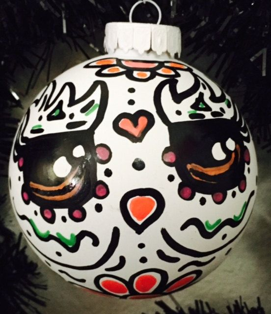 White owl day of the dead style ornament owl by DiaDeLosBicycles