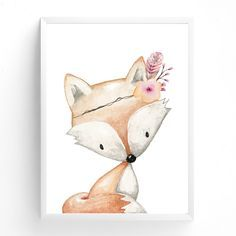 Baby, Girls Woodland Fox Nursery or Bedroom Wall Art Decor Print