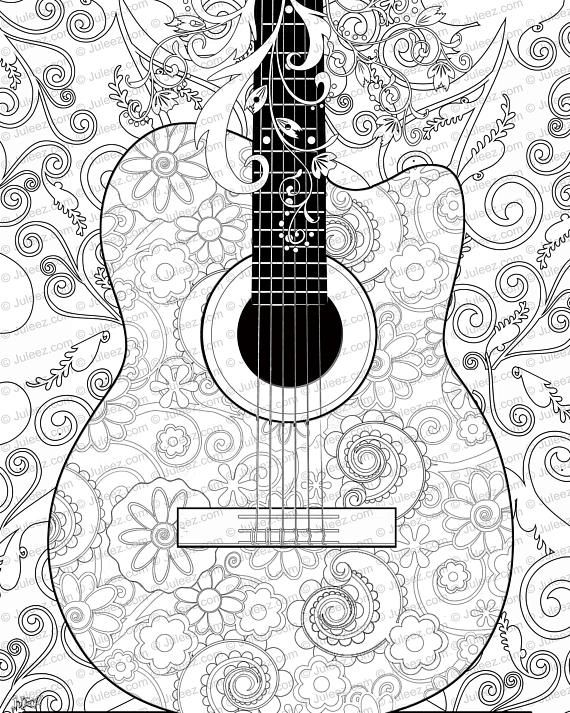 NEW Guitar Flowers Adult Coloring Page, Printable Adult