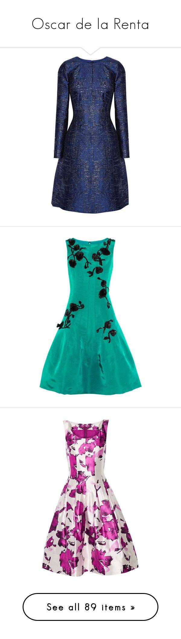 """Oscar de la Renta"" by shoppings9 ❤ liked on Polyvore featuring dresses, short dresses, vestidos, robes, metallic cocktail dress, metallic mini dress, blue cocktail dresses, short blue cocktail dresses, blue fit and flare dress and oscar de la renta"