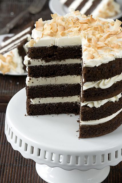Ready for this??  I am... Chocolate Coconut Milk Cake with Coconut Swiss Meringue Buttercream