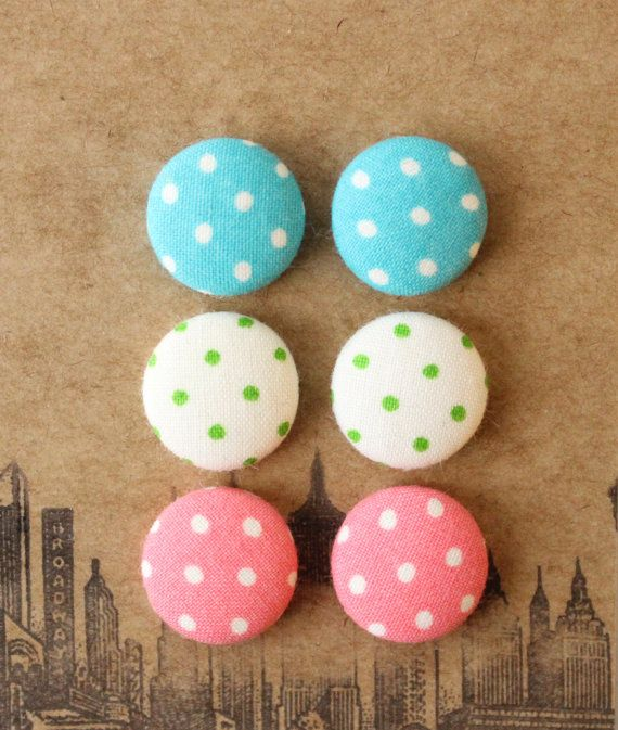 Fabric Button Earrings / 3 Pairs / Polka Dot / by ManhattanHippy