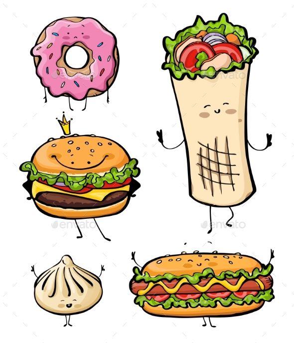 Cartoon Fast Food S Izobrazheniyami Kebab Gamburgery Risunki