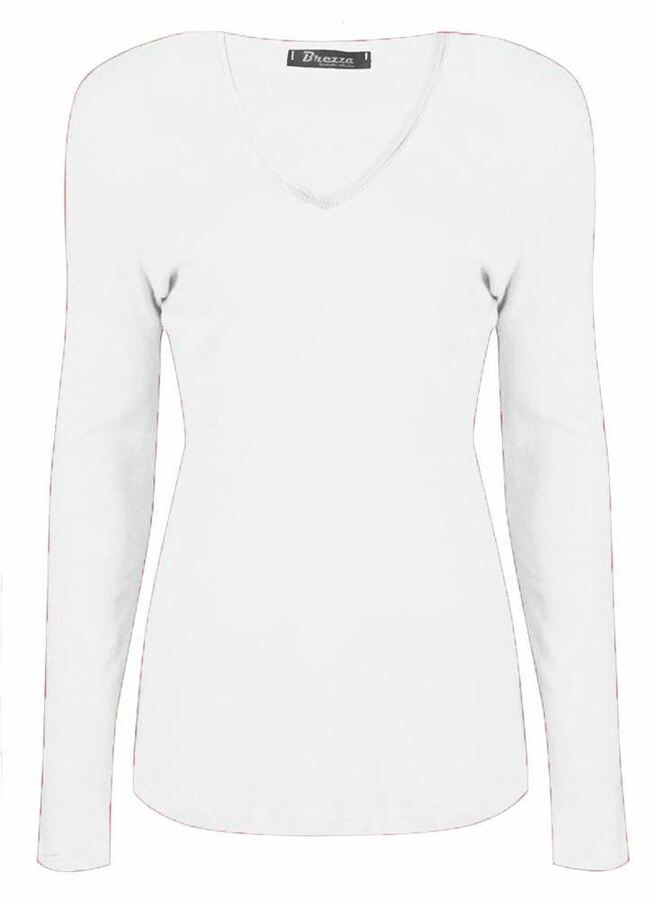 Womens V Neck Basic T Shirt Ladies Long Sleeve Stretchy Plain Jersey Top