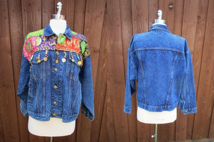Ladies Denim Jacket w/ Beads Fabric Sequins Medallions Whittall & Shon Jean Sz S #WhittallShon #JeanJacket
