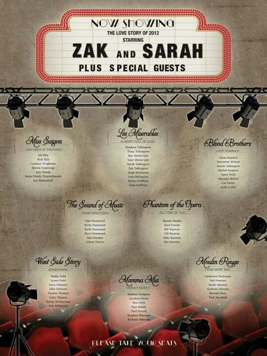 My musical theatre wedding seating plan! amazing! by www.hopeyoucanmakeit.co.uk