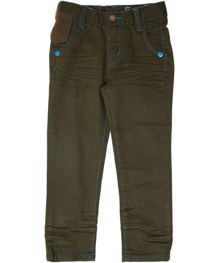 Molo stijlvolle khaki denim broek met turquoise details. molo.nl.emilea.be