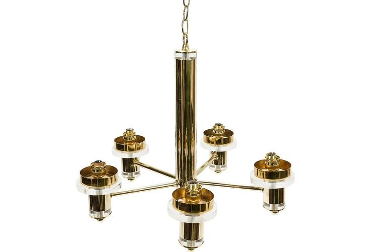 Brass & Lucite Chandelier
