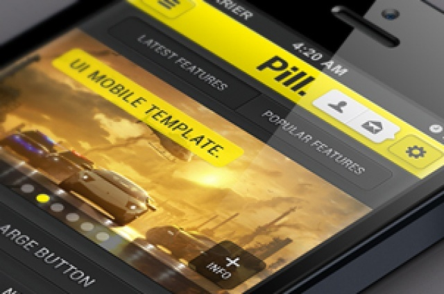 Our Pill iPhone UI Kit is a bright and flashy UI app design based around a dark style combined with a...