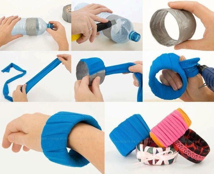 plastikflasche, blauer stoff, diy schmuck, armband, spitze, armreif