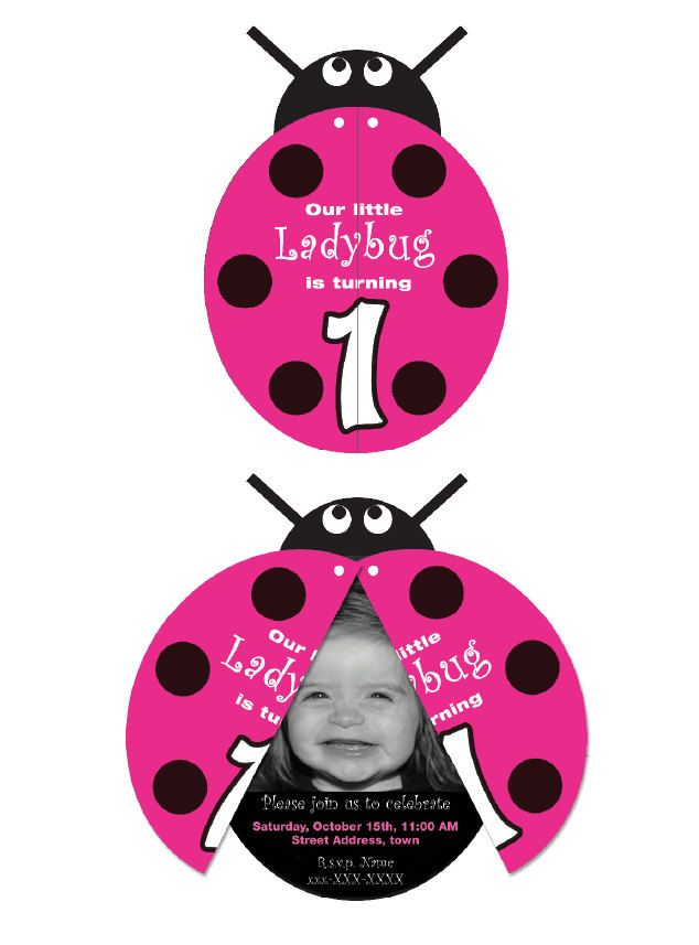 ADORABLE - D1 Pink Ladybug Invitation printable by BsquaredDesign on Etsy