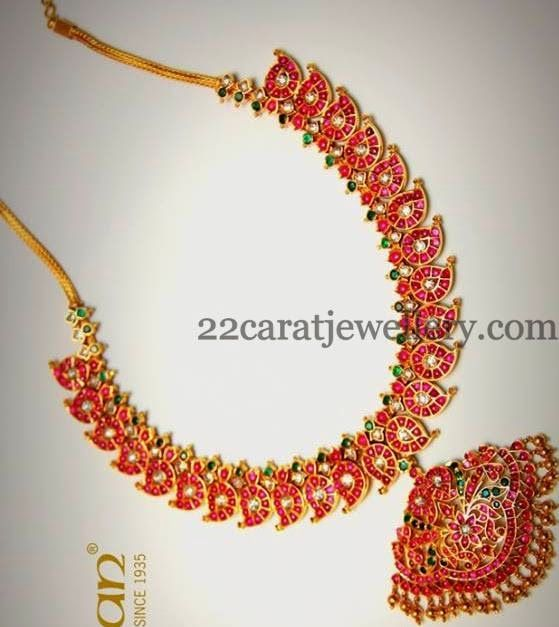 Jewellery Designs: Cabochon Rubies Mango Necklace