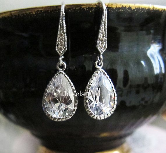 Wedding Earrings Silver Rhinestone Clear Crystal Bridal Jewelry Drop Dangling Stone Sparkling Elegant for Bride Bridesmaids Earrings C1 JW