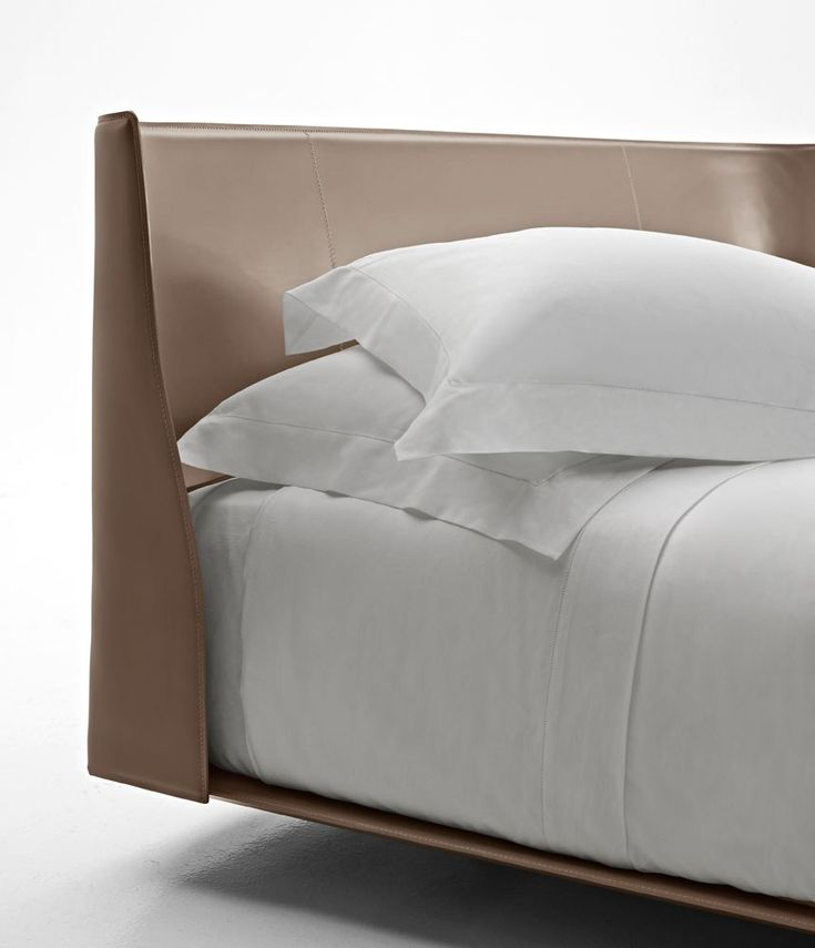 Tanned leather double bed with upholstered headboard ALYS Alys Collection by B