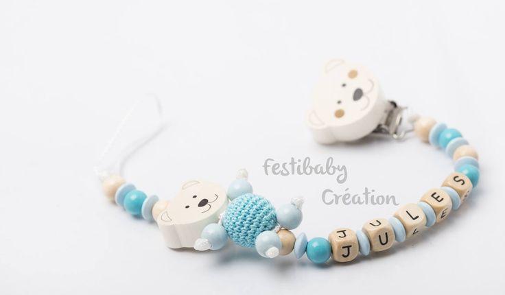 Attache tétine personnalisée en perles de bois - modèle Jules : Puériculture par festibaby-creation