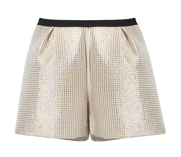 Kosmal, Lucky Me, resort 2016, golden shorts. To download high or low resolution product images view Mondrianista.com (editorial use only).