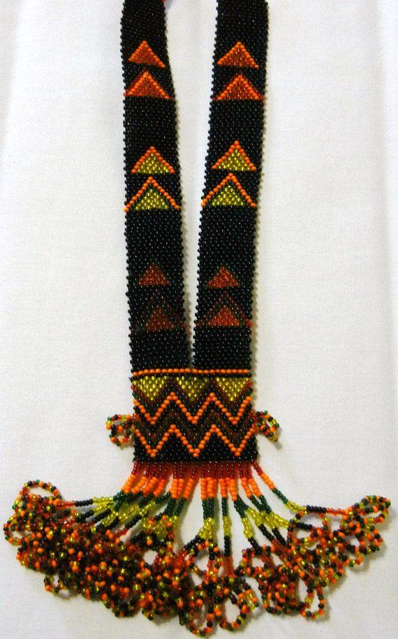 Bohemian cochella beaded neckalce NO metal just by KrutisKreations