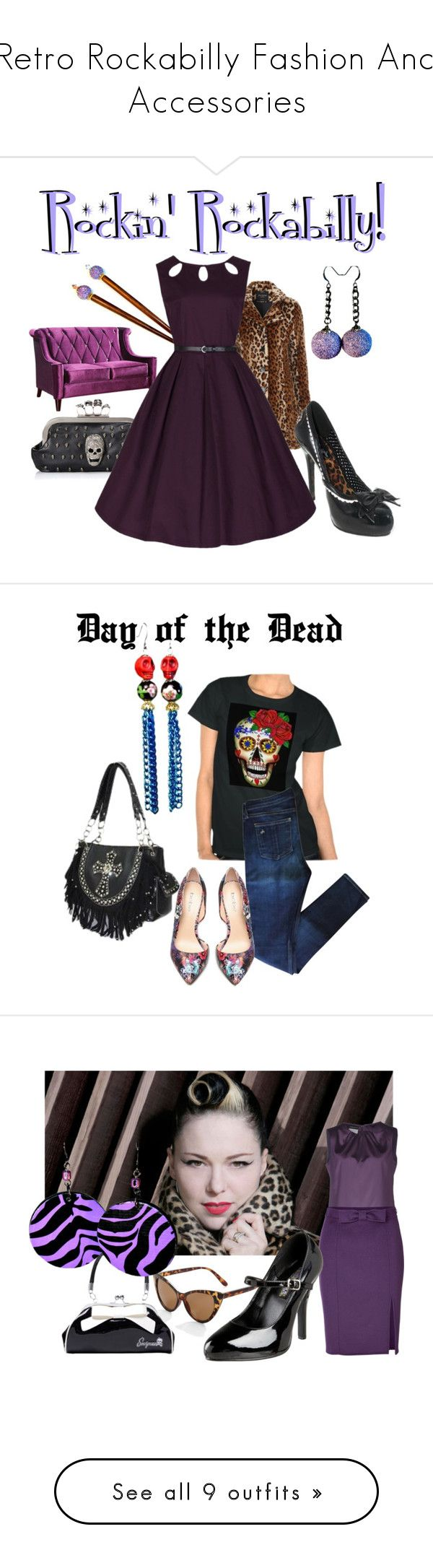 """Retro Rockabilly Fashion And Accessories"" by blukatdesign ❤ liked on Polyvore featuring retro, rockabilly, Armen Living, Jane Norman, Bettie Page, rag & bone, Bebe, Dayofthedead, sugarskull and Emporio Armani"