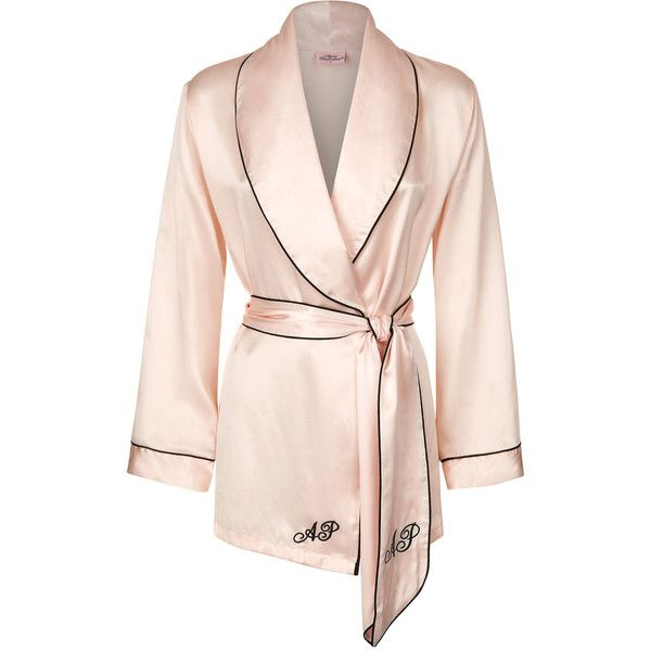 Agent Provocateur Classic Pyjama Top Pink ($340) ❤ liked on Polyvore featuring intimates, sleepwear, pajamas, nightwear, pyjamas, pjs, silk pyjamas and sleep wear