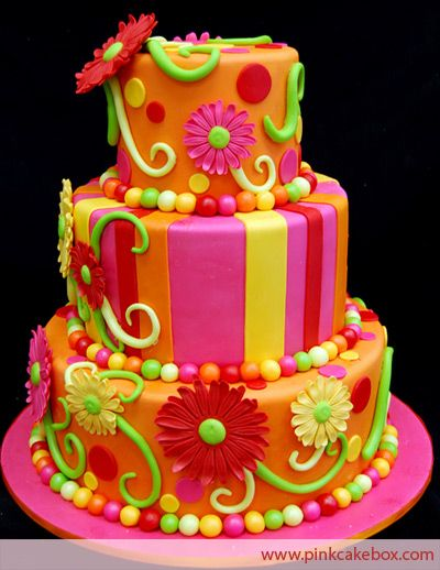 wow! this is one bright & happy cake! I like it! :)Gerber Daisies, Cake Ideas, Cake Boxes, Colors Cake, Wedding Cake, Birthday Cake, Bright Colors, Pink Cake, Flower Cake