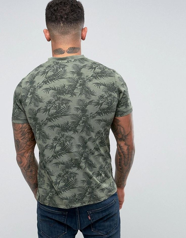 Tokyo Laundry Grandad Collar Tropical T-Shirt - Green