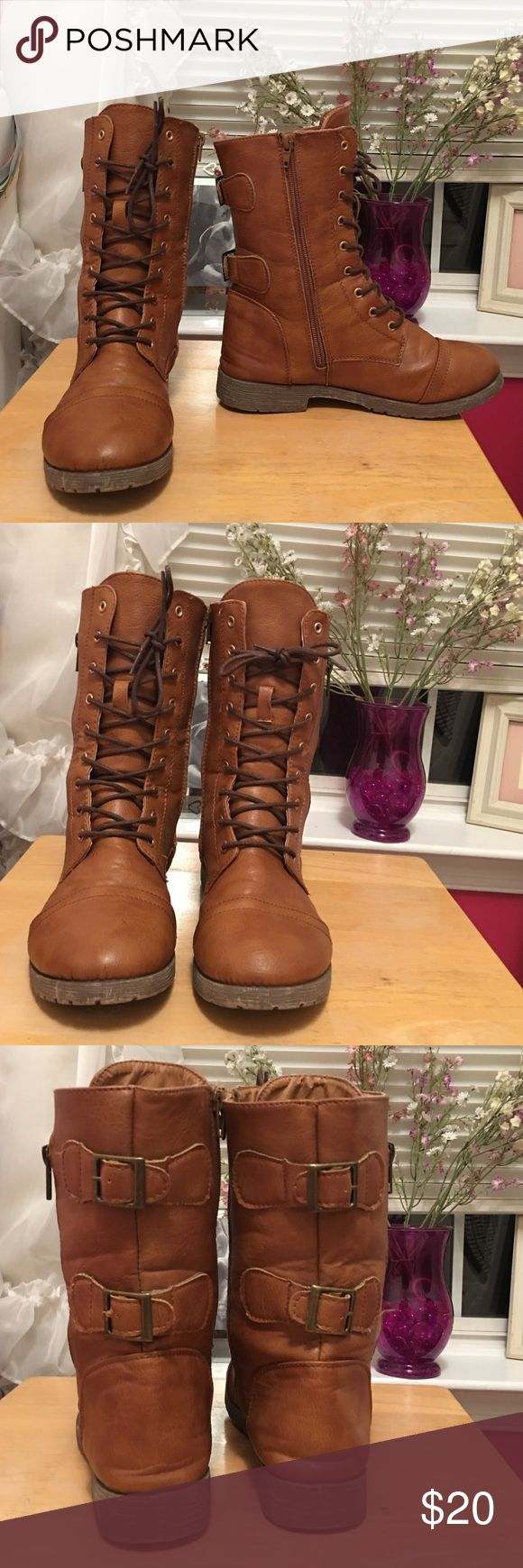 ❤ Brown Combat Boots ❤ ❤ Light brown ❤ Combat boots ❤ Zips & ties up ❤ Flawless ❤ Size 6/7 ❤ Shoes Combat & Moto Boots
