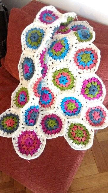 Crochet hexagon shawl