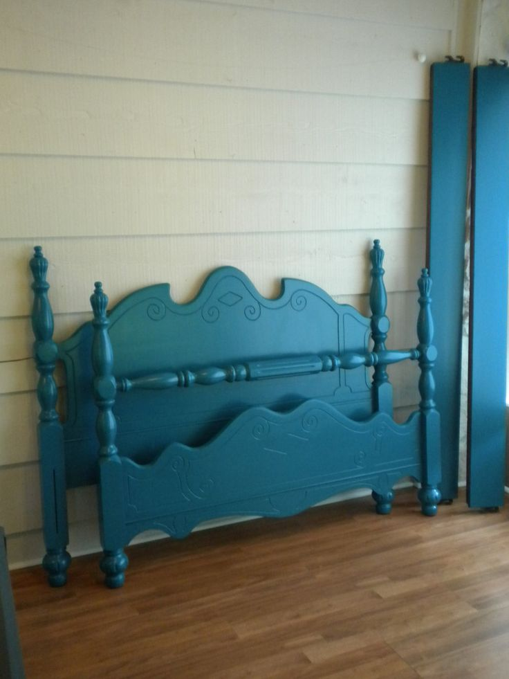 Vintage Turquoise Bedframe - Full Size, Double, Wood, Painted, Bed. $340.00, via Etsy.